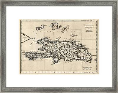 Antique Map Of The Dominican Republic And Haiti By Thomas Jefferys - 1768 Framed Print by Blue Monocle