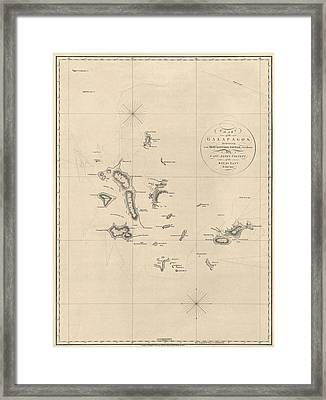 Antique Map Of The Galapagos Islands By James Colnett - 1798 Framed Print by Blue Monocle
