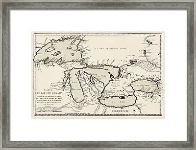Antique Map Of The Great Lakes By Jacques Nicolas Bellin - 1742 Framed Print by Blue Monocle