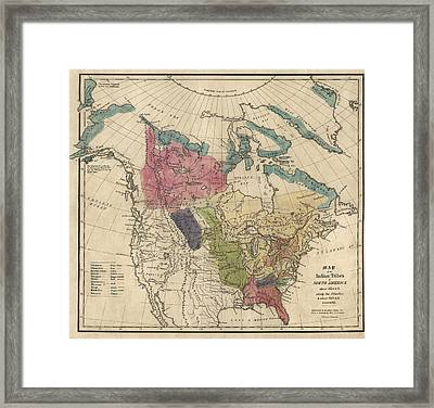 Antique Map Of The Indian Tribes Of North America By Albert Gallatin - 1836 Framed Print by Blue Monocle