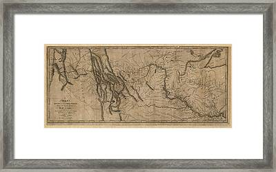 Antique Map Of The Lewis And Clark Expedition By Samuel Lewis - 1814 Framed Print by Blue Monocle