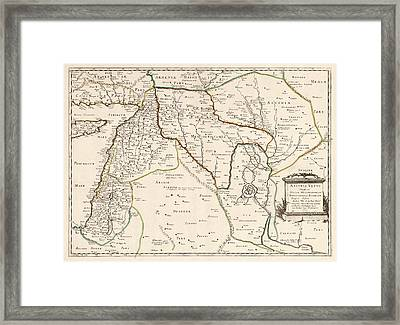 Antique Map Of The Middle East By Philippe De La Rue - 1651 Framed Print by Blue Monocle
