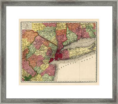 Antique Map Of The New York City Region By Rand Mcnally And Company - 1908 Framed Print by Blue Monocle