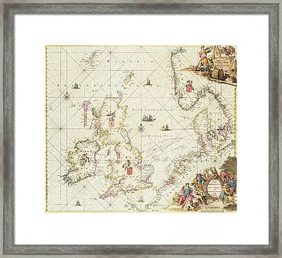 Antique Map Of The North Sea Framed Print by Frederick de Wit