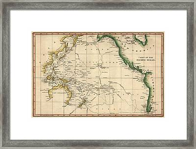 Antique Map Of The Pacific Ocean By Henry Schenck Tanner - Circa 1820 Framed Print by Blue Monocle