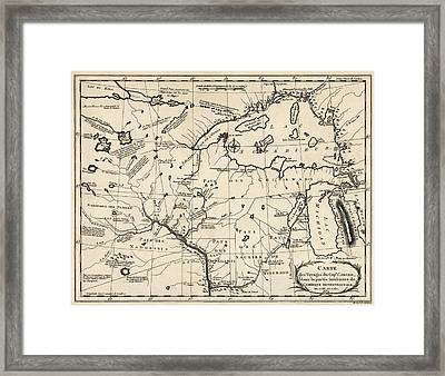 Antique Map Of The Upper Midwest Us  And Great Lakes By Benard - Circa 1768 Framed Print by Blue Monocle