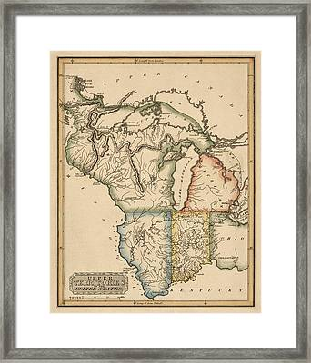 Antique Map Of The Upper Midwest Us By Fielding Lucas - Circa 1817 Framed Print by Blue Monocle