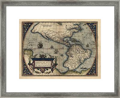Antique Map Of The Western Hemisphere By Abraham Ortelius - 1570 Framed Print by Blue Monocle