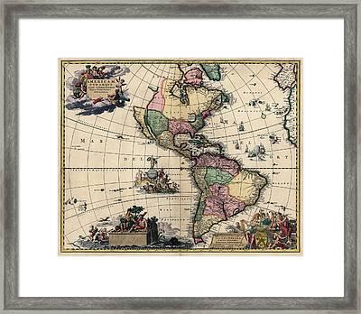 Antique Map Of The Western Hemisphere By Gerard Van Keulen - Circa 1710 Framed Print by Blue Monocle