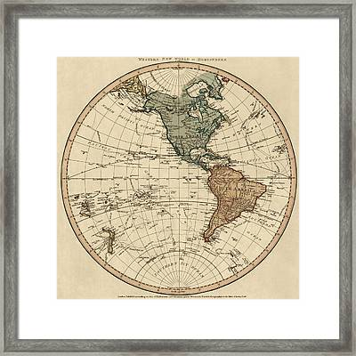 Antique Map Of The Western Hemisphere By William Faden - 1786 Framed Print by Blue Monocle