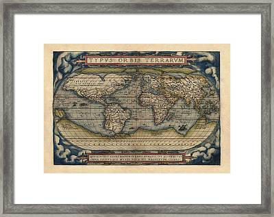 Antique Map Of The World By Abraham Ortelius - 1570 Framed Print by Blue Monocle