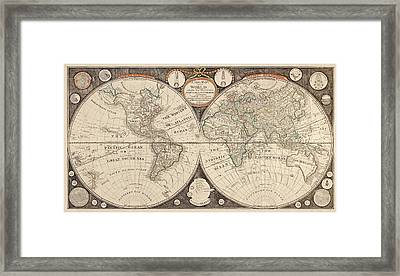 Antique Map Of The World By Thomas Kitchen - 1799 Framed Print by Blue Monocle