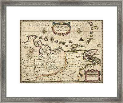 Antique Map Of Venezuela By Hendrik Hondius - 1630 Framed Print by Blue Monocle
