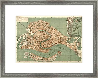 Antique Map Of Venice Italy By Wagner And Debes - Circa 1886 Framed Print by Blue Monocle