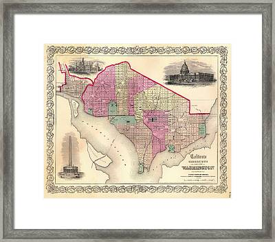 Antique Map Of Washington D C 1855 Framed Print by Mountain Dreams