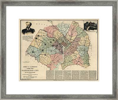 Antique Map Of Washington Dc By Andrew B. Graham - 1891 Framed Print by Blue Monocle