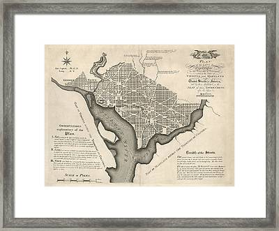 Antique Map Of Washington Dc By Andrew Ellicott - 1792 Framed Print by Blue Monocle