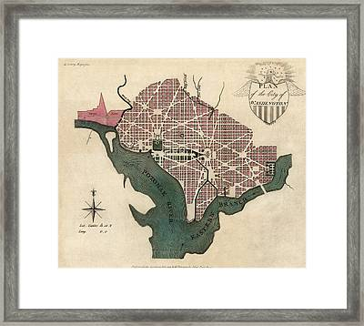Antique Map Of Washington Dc By J. Good - 1793 Framed Print by Blue Monocle