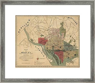 Antique Map Of Washington Dc By R. E. Whitman - 1887 Framed Print by Blue Monocle
