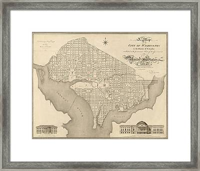 Antique Map Of Washington Dc By Robert King - 1818 Framed Print by Blue Monocle