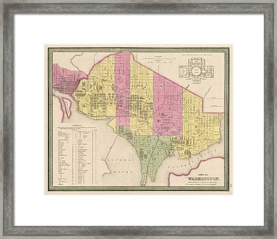 Antique Map Of Washington Dc By Samuel Augustus Mitchell - 1849 Framed Print by Blue Monocle