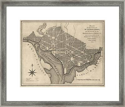Antique Map Of Washington Dc By William Bent - 1793 Framed Print by Blue Monocle