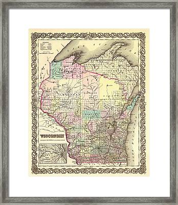 Antique Map Of Wisconsin 1855 Framed Print by Mountain Dreams
