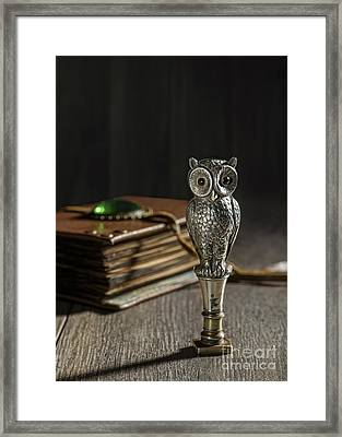 Antique Owl Seal Framed Print by Amanda And Christopher Elwell