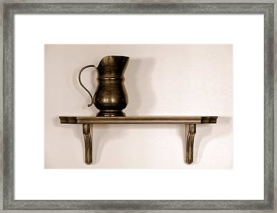 Antique Pewter Pitcher On Old Wood Shelf Framed Print by Olivier Le Queinec