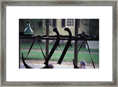 Antique Pistols In Williamsburg Framed Print by Carl Purcell