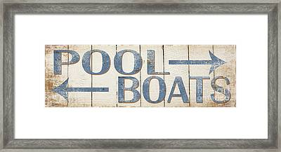 Antique Pool Boat Sign Framed Print by Grace Pullen