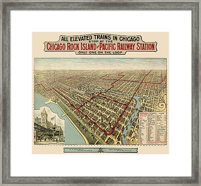 Antique Railroad Map Of Chicago - 1897 Framed Print by Blue Monocle