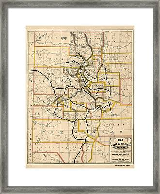 Antique Railroad Map Of Colorado And New Mexico By S. W. Eccles - 1881 Framed Print by Blue Monocle