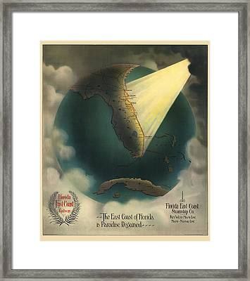 Antique Railroad Map Of Florida By J. P. Beckwith - 1898 Framed Print by Blue Monocle