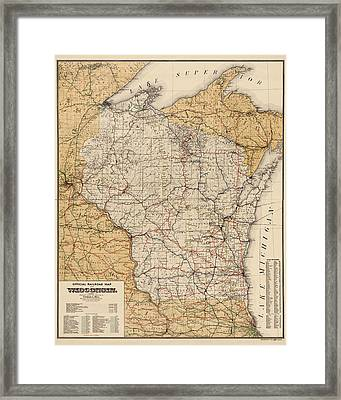 Antique Railroad Map Of Wisconsin - 1900 Framed Print by Blue Monocle