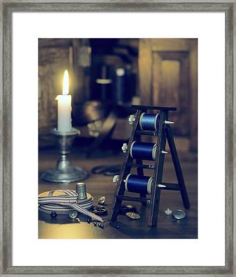 Antique Sewing Items Framed Print by Amanda Elwell