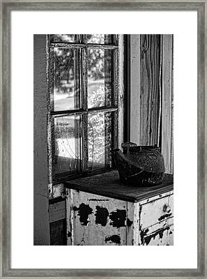 Antique Stove On Porch Framed Print by Bonnie Bruno