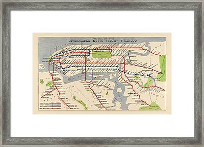 Antique Subway Map Of New York City - 1924 Framed Print by Blue Monocle