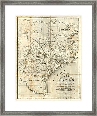 Antique Texas Map 1841 Framed Print by Dan Sproul