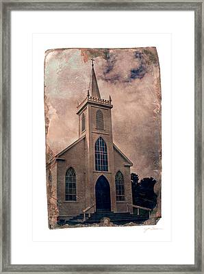 Antique Tintype Style Church In Bodega California Framed Print by Julie Magers Soulen
