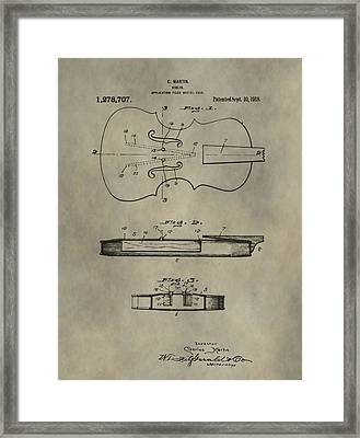 Antique Violin Patent Framed Print by Dan Sproul