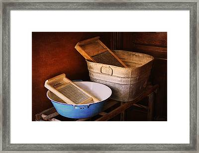 Antique Wash Tubs Framed Print by Maria Angelica Maira