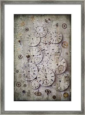 Antique Watch Faces Framed Print by Garry Gay