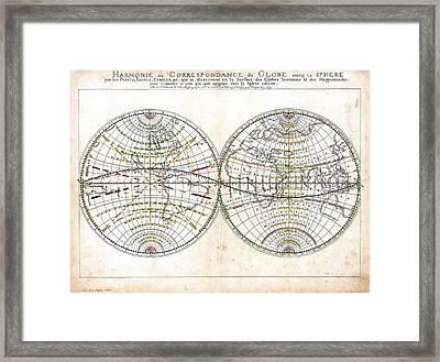 Antique World Map Harmonie Ou Correspondance Du Globe 1659 Framed Print by Karon Melillo DeVega