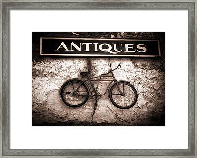 Antiques And The Old Bike Framed Print by Bob Orsillo