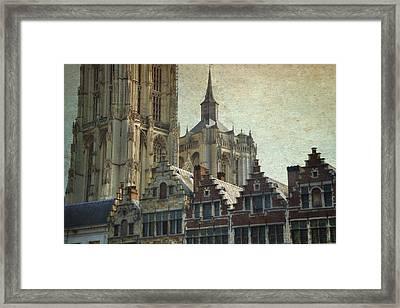 Antwerp Skyline Framed Print by Joan Carroll