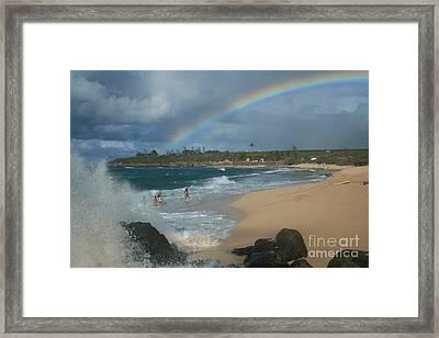 Anuenue - Aloha Mai E Hookipa Beach Maui Hawaii Framed Print by Sharon Mau