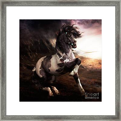 Painted Framed Print featuring the digital art Apache Blue by Shanina Conway