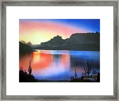 Apache Lake Sunset Framed Print by Jerry Bokowski