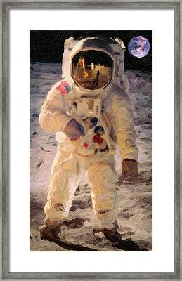 Apollo 11 Astronaut Painting Framed Print by Celestial Images